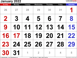 Monthly calendar templates for January 2022 in Microsoft Excel format