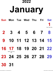January 2022 calendar, portrait orientation, classic, available as printable templates for Word, Excel and PDF