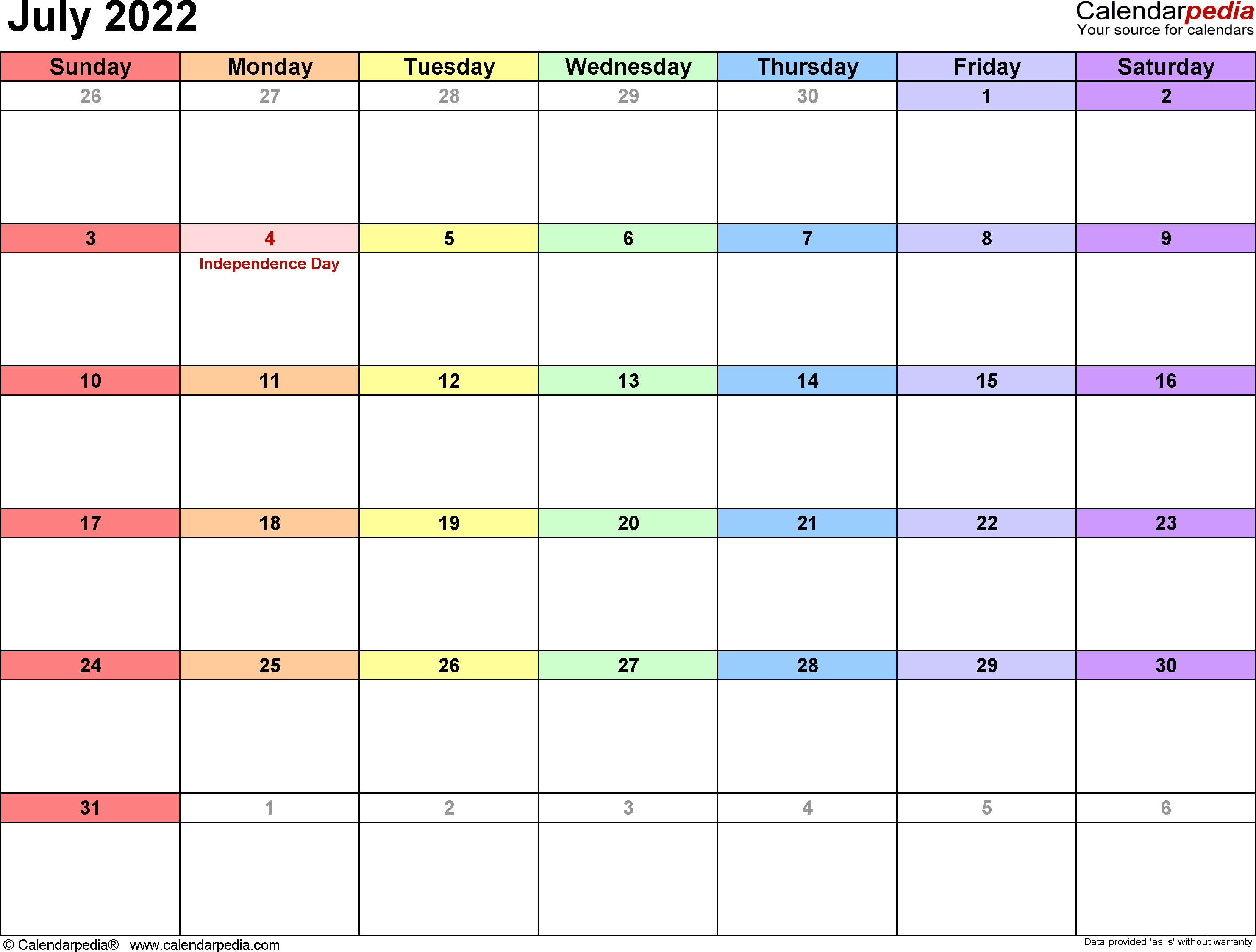 July 2022 calendar printable template