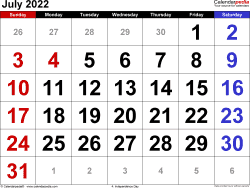 July 2022 calendar, landscape orientation, large numerals, available as printable templates for Word, Excel and PDF