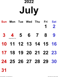 July 2022 calendar, portrait orientation, classic, available as printable templates for Word, Excel and PDF
