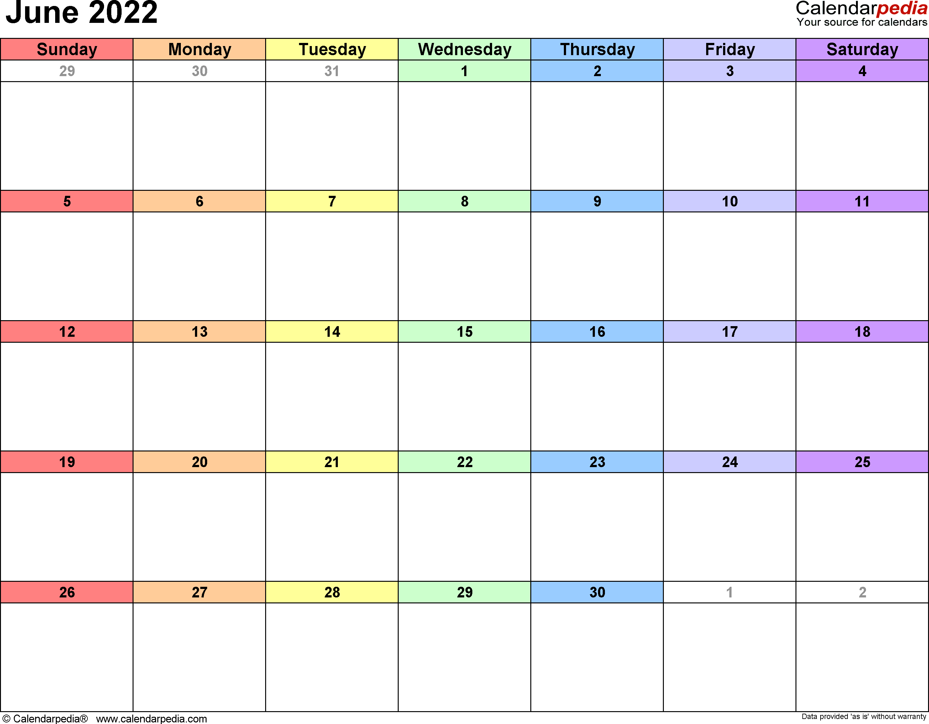June 2022 calendar printable template