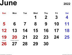 June 2022 calendar, landscape orientation, classic, available as printable templates for Word, Excel and PDF
