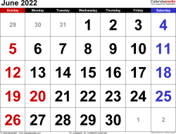June 2022 calendar, landscape orientation, large numerals, available as printable templates for Word, Excel and PDF