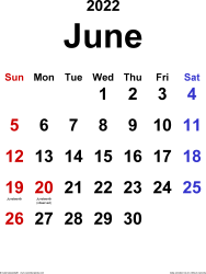 June 2022 calendar, portrait orientation, classic, available as printable templates for Word, Excel and PDF