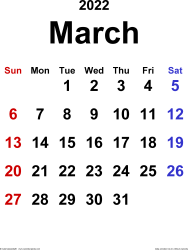 March 2022 calendar, portrait orientation, classic, available as printable templates for Word, Excel and PDF