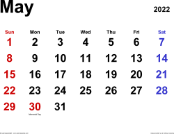 May 2022 calendar, landscape orientation, classic, available as printable templates for Word, Excel and PDF