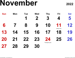 November 2022 calendar, landscape orientation, classic, available as printable templates for Word, Excel and PDF