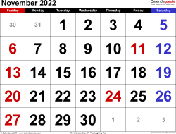 November 2022 calendar, landscape orientation, large numerals, available as printable templates for Word, Excel and PDF