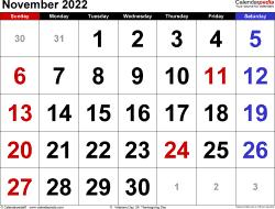 November 2022 calendar
