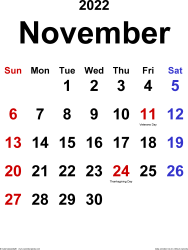 November 2022 calendar, portrait orientation, classic, available as printable templates for Word, Excel and PDF