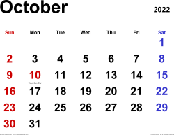 October 2022 calendar, landscape orientation, classic, available as printable templates for Word, Excel and PDF