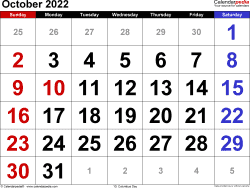 October 2022 calendar, landscape orientation, large numerals, available as printable templates for Word, Excel and PDF
