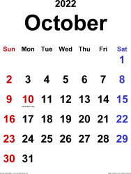 October 2022 calendar, portrait orientation, classic, available as printable templates for Word, Excel and PDF