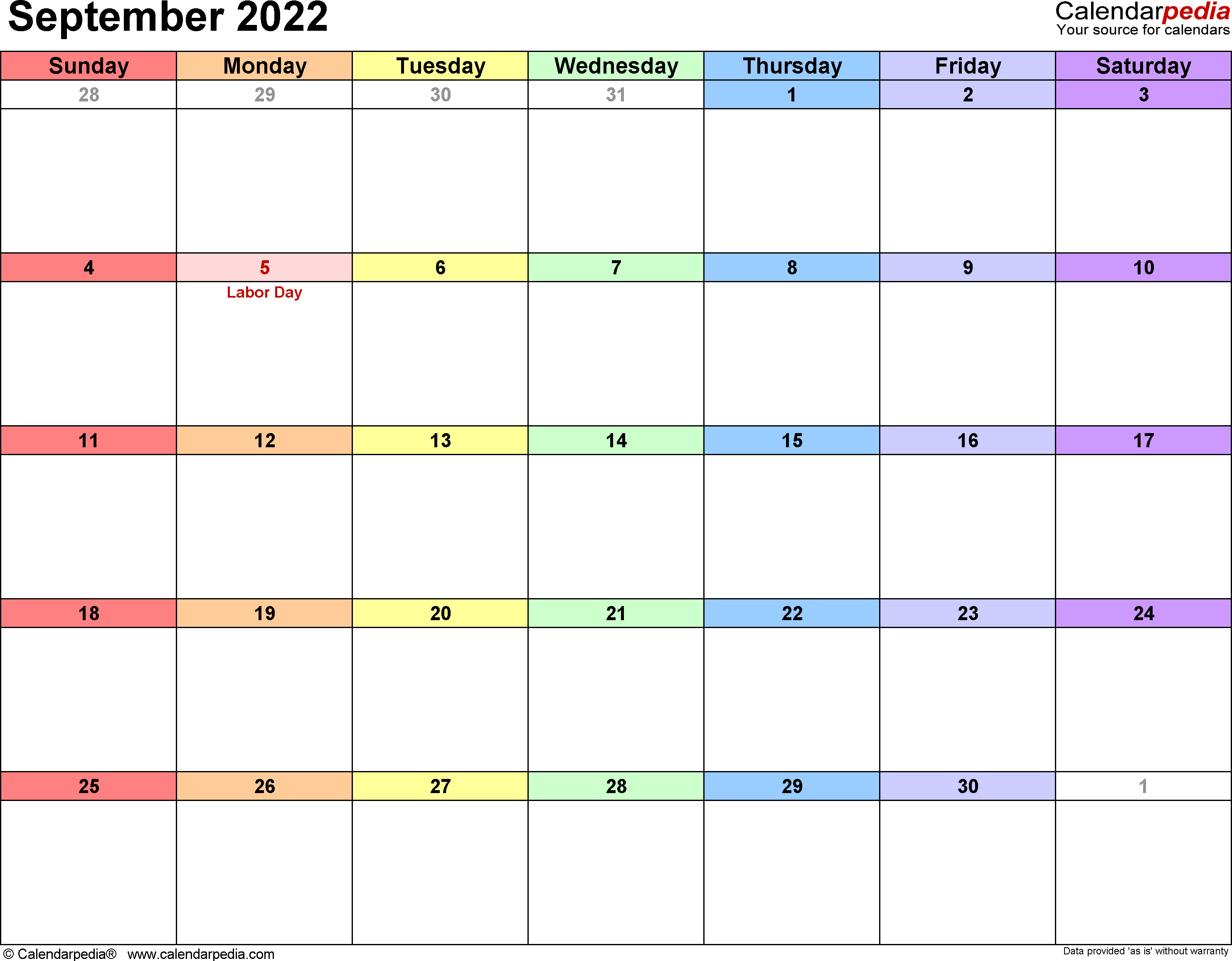 September 2022 Calendars for Word, Excel & PDF