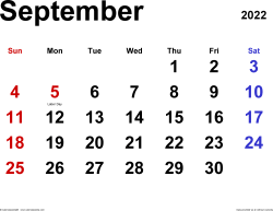 September 2022 calendar, landscape orientation, classic, available as printable templates for Word, Excel and PDF
