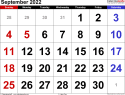 September 2022 calendar, landscape orientation, large numerals, available as printable templates for Word, Excel and PDF