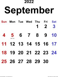 September 2022 calendar, portrait orientation, classic, available as printable templates for Word, Excel and PDF