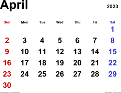 April 2023 calendar, landscape orientation, classic, available as printable templates for Word, Excel and PDF