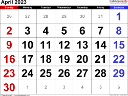 April 2023 calendar, landscape orientation, large numerals, available as printable templates for Word, Excel and PDF