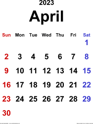 April 2023 calendar, portrait orientation, classic, available as printable templates for Word, Excel and PDF
