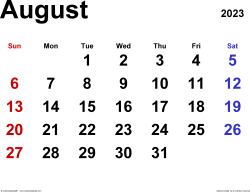 August 2023 calendar, landscape orientation, classic, available as printable templates for Word, Excel and PDF