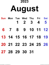 August 2023 calendar, portrait orientation, classic, available as printable templates for Word, Excel and PDF