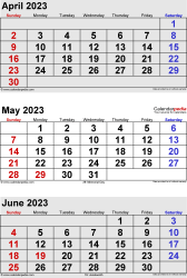 three month calendar April/May/June 2023 in portrait orientation, available as printable templates for Word, Excel and PDF