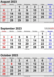three month calendar August/September/October 2023 in portrait orientation, available as printable templates for Word, Excel and PDF