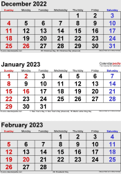 three month calendar December 2022/ January/February2023 in portrait orientation, available as printable templates for Word, Excel and PDF