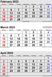 3 months calendar February/March/April 2023 in portrait format