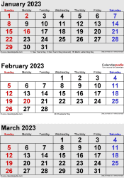 3 months calendar January/February/March 2023 in portrait format