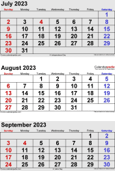three month calendar July/August/September 2023 in portrait orientation, available as printable templates for Word, Excel and PDF