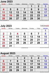 three month calendar June/July/August 2023 in portrait orientation, available as printable templates for Word, Excel and PDF