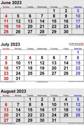 3 months calendar June/July/August 2023 in portrait format