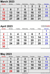 3 months calendar March/April/May 2023 in portrait format