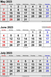 three month calendar May/June/July 2023 in portrait orientation, available as printable templates for Word, Excel and PDF