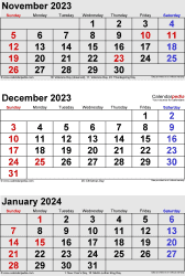 three month calendar November/December 2023& January 2024 in portrait orientation, available as printable templates for Word, Excel and PDF