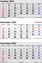 3 months calendar October/November/December 2023 in portrait format