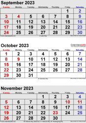 three month calendar September/October/November 2023 in portrait orientation, available as printable templates for Word, Excel and PDF