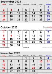 3 months calendar September/October/November 2023 in portrait format