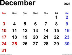 December 2023 calendar, landscape orientation, classic, available as printable templates for Word, Excel and PDF