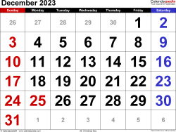 December 2023 calendar, landscape orientation, large numerals, available as printable templates for Word, Excel and PDF