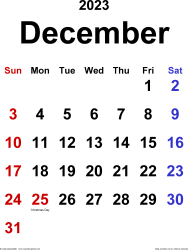 December 2023 calendar, portrait orientation, classic, available as printable templates for Word, Excel and PDF