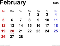 February 2023 calendar, landscape orientation, classic, available as printable templates for Word, Excel and PDF