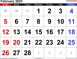 February 2023 calendar, landscape orientation, large numerals, available as printable templates for Word, Excel and PDF