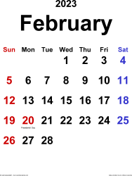 February 2023 calendar, portrait orientation, classic, available as printable templates for Word, Excel and PDF