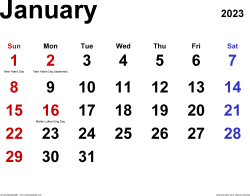 January 2023 calendar, landscape orientation, classic, available as printable templates for Word, Excel and PDF