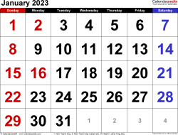 Monthly calendar templates for January 2023 in Microsoft Excel format