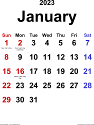 January 2023 calendar, portrait orientation, classic, available as printable templates for Word, Excel and PDF